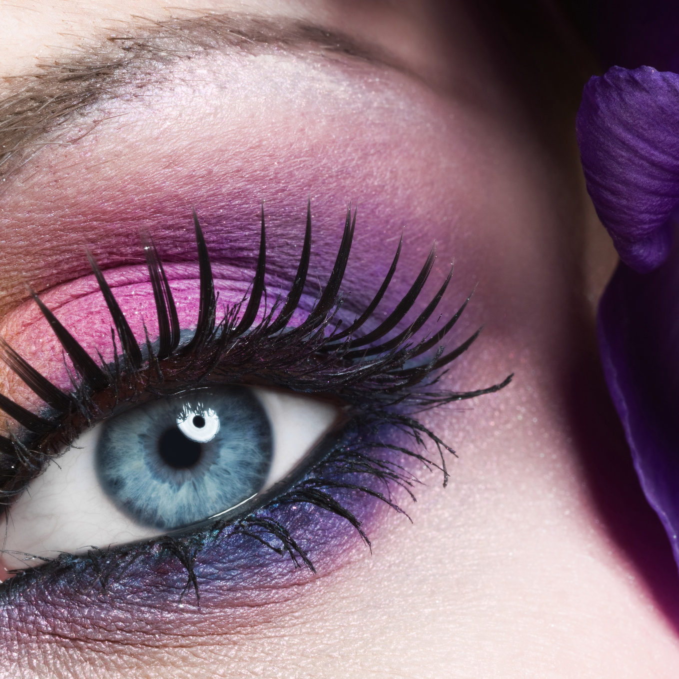 Woman eye with colorful make-up and long false eyelashes - gerber flower
